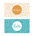 Hello and thanks cards vector image vector image