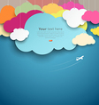 Colorful paper cut clouds shape design vector image vector image