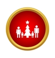 Family new year icon simple style vector image