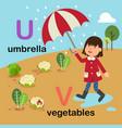 alphabet letter u-umbrella v-vegetables vector image