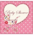 Baby shower with heart and baby carriage pink vector image