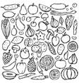 doodle vegetarian food set vector image
