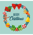 merry christmas card wreath decoration elements vector image