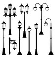 old street lamps set in monochrome style vector image
