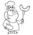 Pig chef cooking pork cartoon vector image