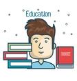 cartoon student education books read design vector image