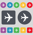 Plane icon sign A set of 12 colored buttons Flat vector image