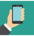 Hand holding cell phone with touch screen vector image