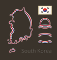 South Korea - Outline Map and Ribbons vector image