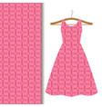 women dress fabric pink geometric pattern vector image