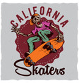skateboard t-shirt label design vector image