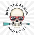 Hipster skull with geek sunglasses and arrow Bite vector image