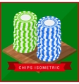 Stacked pocker Chips isometric flat