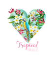 Floral Heart Graphic Design - Tropical Flowers vector image