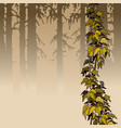 cartoon brown woods with yellow ivy plant vector image