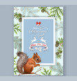 christmas squirrel frame vector image