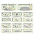 dollars banknote set cartoon us currency vector image