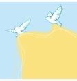 Flying pigeons background Hand drawn vector image