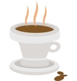 hot coffee drink in cup with beans isolated vector image