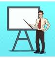 Pop Art Businessman with Pointer Stick vector image