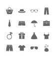 set of clothes accessories and glasses icons vector image