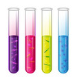 test tubes set with liquid and bacteria cell and vector image