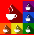 cup of coffee sign  set of icons with flat vector image