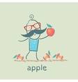 man holding an apple lying around and eats apples vector image vector image