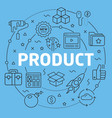 blue line flat circle product vector image
