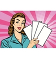 Girl promo with booklets vector image