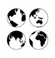 Globe Earth icons set signs isolated on vector image vector image