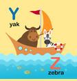 alphabet letter y-yak z-zebra vector image