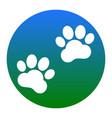 animal tracks sign white icon in bluish vector image