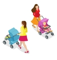 Beautiful mother on walking with baby in stroller vector image