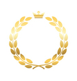 Gold laurel wreath crown emblem vector image