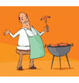 man grilling sausages on the barbecue vector image