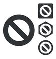 NO icon set monochrome vector image