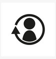 synchronize update icon with man in the center vector image