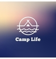 trendy outline camping logo Tent on a vector image