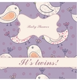 Birds baby shower twins vintage vector image vector image