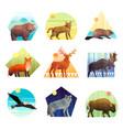 animals polygonal emblem set vector image vector image