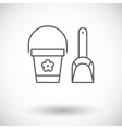 Pail and shovel icon vector image vector image