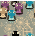 owl pattern background vector image vector image