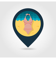 Swimsuit pin map icon Summer Vacation vector image