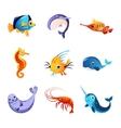 Colorful Sea Animals Set vector image
