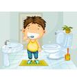 Boy brushing teeth vector image vector image