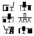 chair office with desk empty set vector image