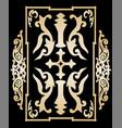 Gold ancient vintage ornament on black background vector image