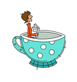 Side view of boy sitting in cup vector image