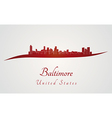 Baltimore skyline in red vector image